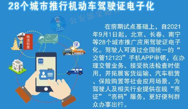 9 月 1 日起,北上广等 28 个城市启用电子驾照