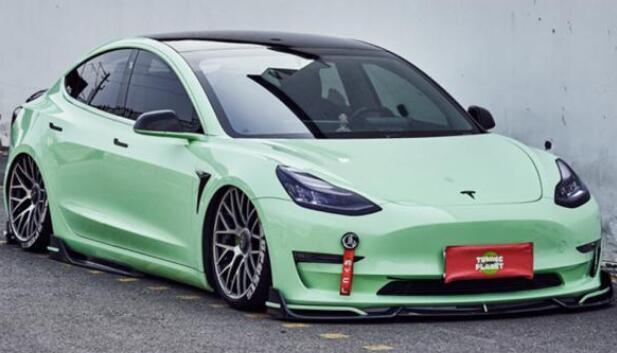 一抹灰蒙绿的清爽 改装特斯拉 Model 3