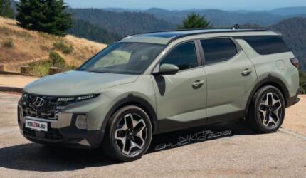 现代Santa Cruz SUV版本假想图曝光,前脸造型保持了皮卡车型的设计